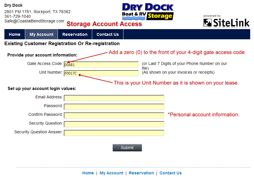 Dry Dock Boat & RV Storage Login Instructions